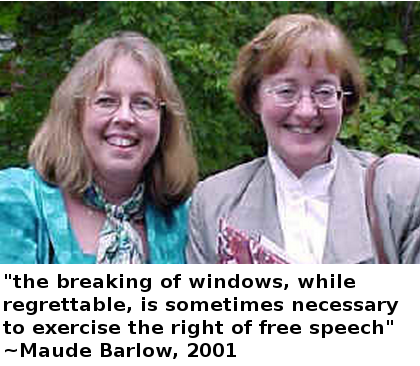 Elizabeth May and Maude Barlow of the Council of Canadians