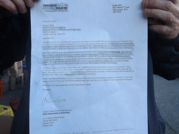 Letter from VCH to VANDU