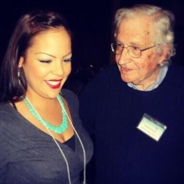 Chrystal Lameman with Noam Chomsky in 2013