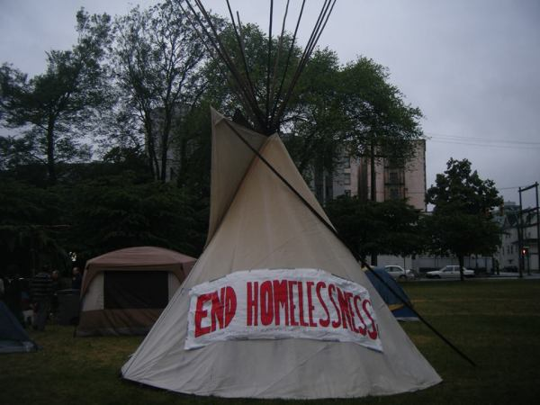 Some protesters stay in a traditional west coast Tipi