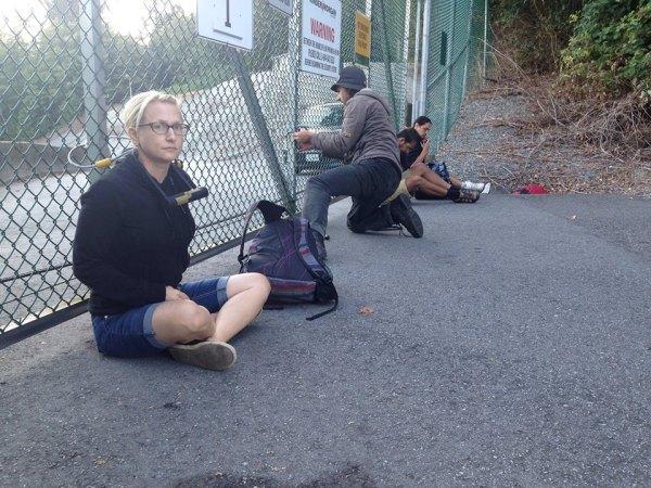 "Mia ""Gandhi"" Nissen locked to gate at Burnaby Kinder Morgan property"
