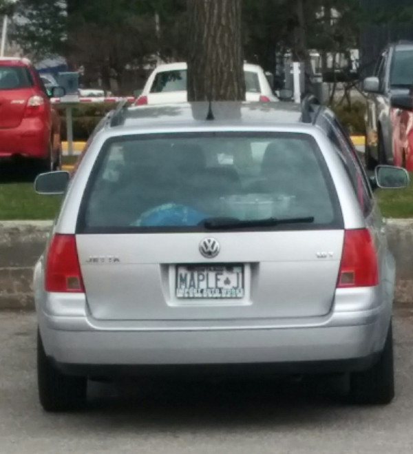 The band's custom license plate...