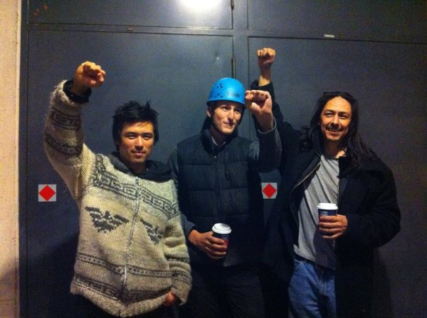 Tamo Campos, Jakub Markiewicz & Dan Wallace after their Burnaby Mountain arrests