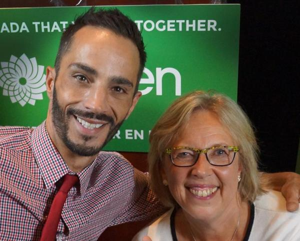 David Clow and Green Party leader Elizabeth May