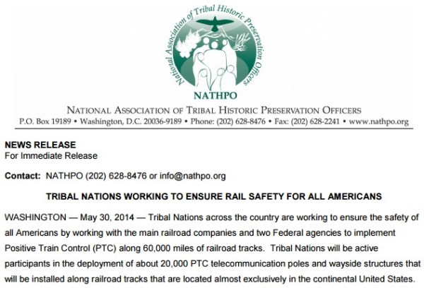 Press release from the National Association of Tribal Historic Preservation Officers