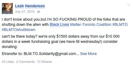 City Servant Leah Henderson promoting #BlackLivesMatter Toronto