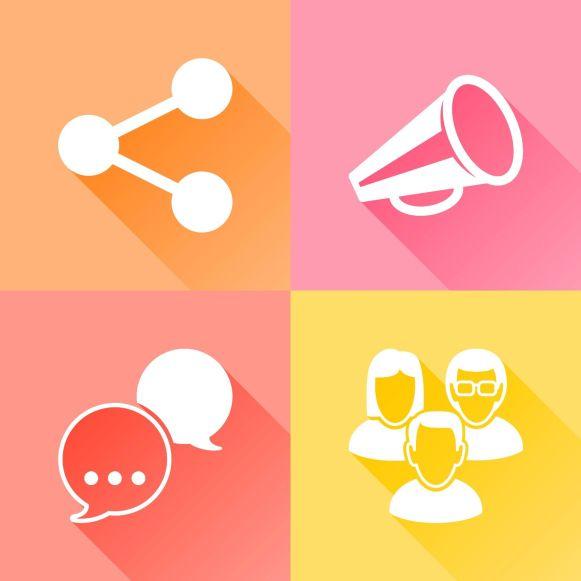 Social media colorful flat icons