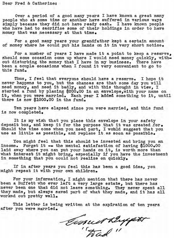 Letter From Warren Buffet's Uncle