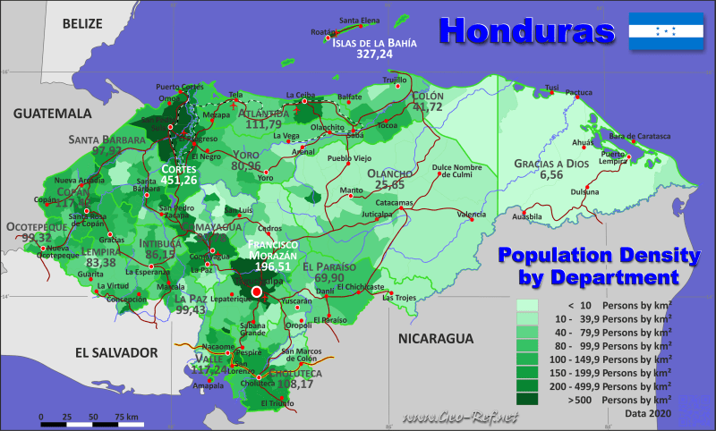 Honduras Country data  links and maps of the population density by     Country map   Population density