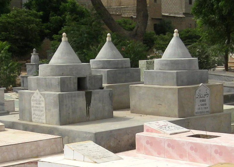 Hindus bury their dead in the Lotus position and the graves are built with conical tombs