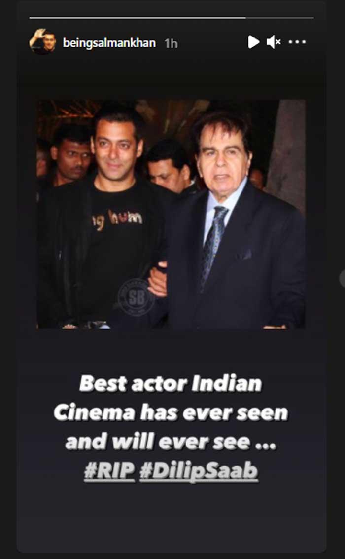 Salman Khan mourns Dilip Kumar's death