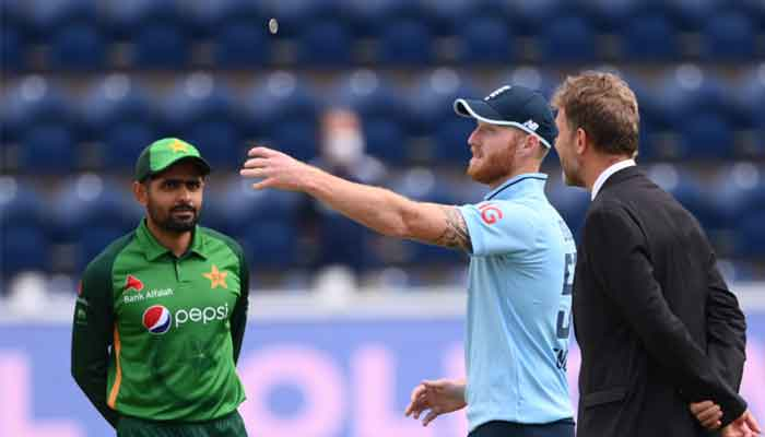 Pakistan captain Babar Azam and England skipper Ben Stokes at the toss in Cardiff. Photo: Twitter/PCB