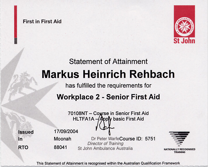 2003 workplace two senior first aid certificate st johns ambulance