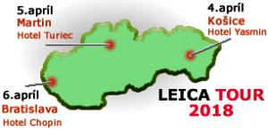 Společnost GEOTECH Bratislava, s.r.o. organizuje od 4. do 6. dubna 2018 ve třech slovenských městech bezplatnou prezentaci výrobního programu značky Leica Geosystems.