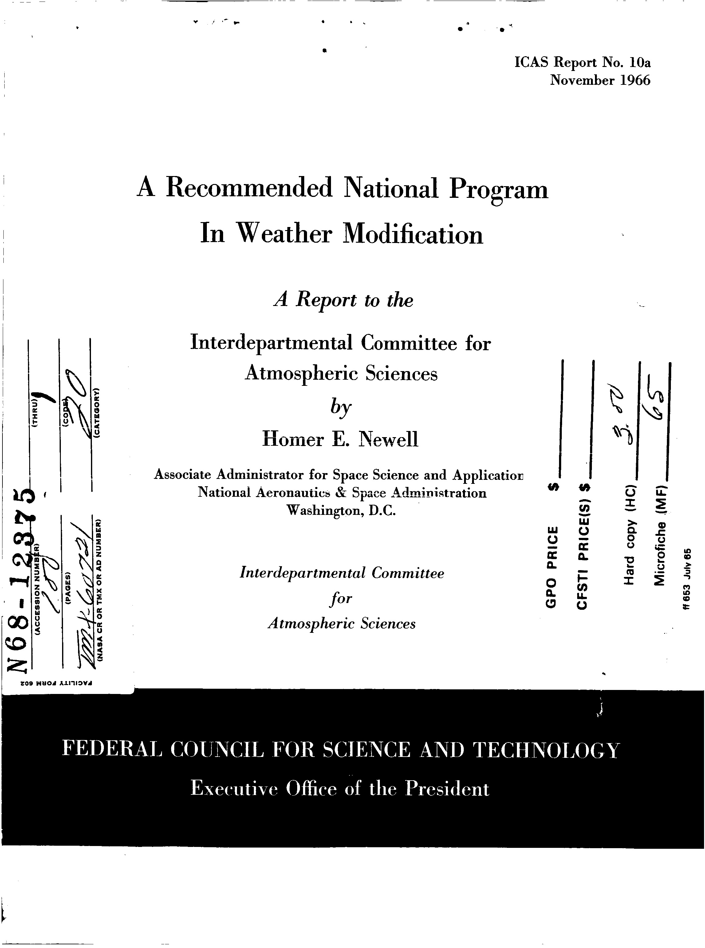 Us Government Document Outlines National Weather