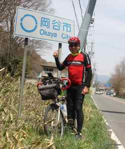 Geoff Jones with bicycle in Okaya