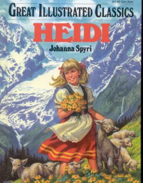 Heidi by Johanna Spyri Book cover. Girl on mountains surrounded by lambs and flowers