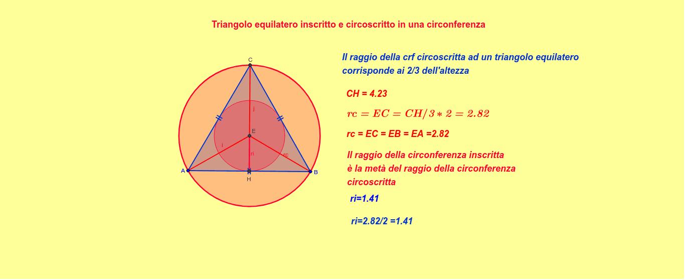 Triangolo Equilatero Inscritto E Circoscritto Geogebra