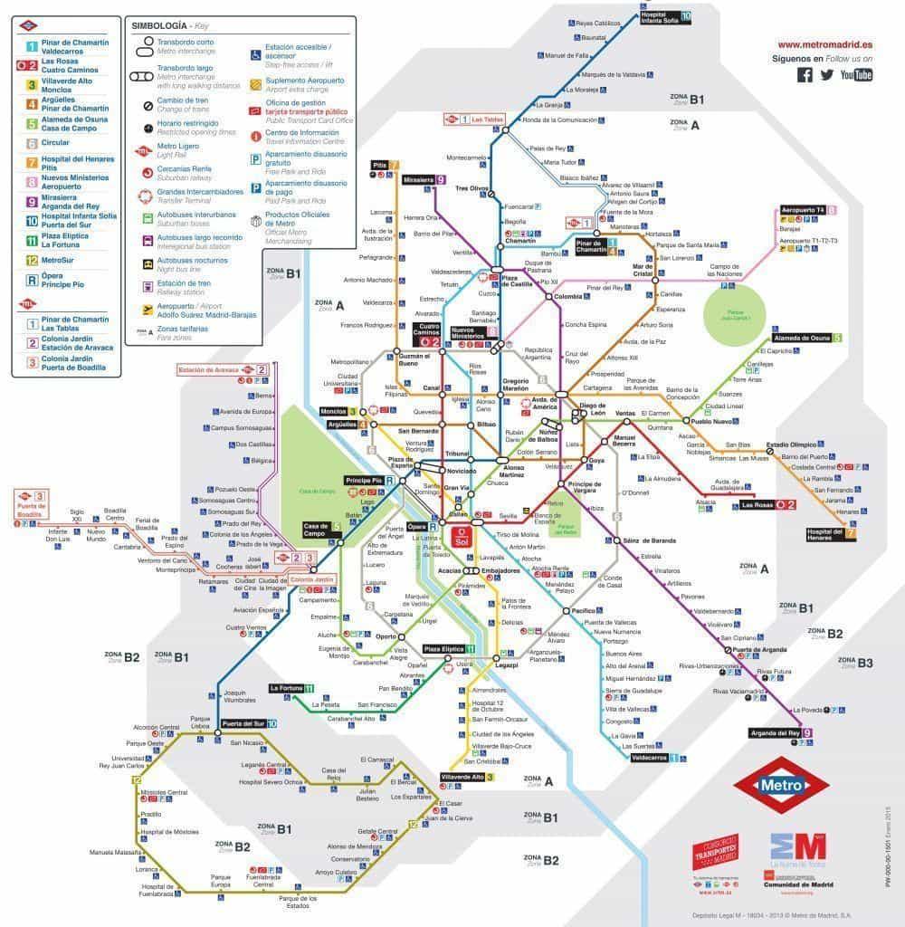 Mapa de metro de Madrid actual