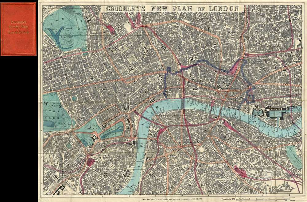 1860 Cruchley Pocket Map of London  England Cruchley s New Plan of London