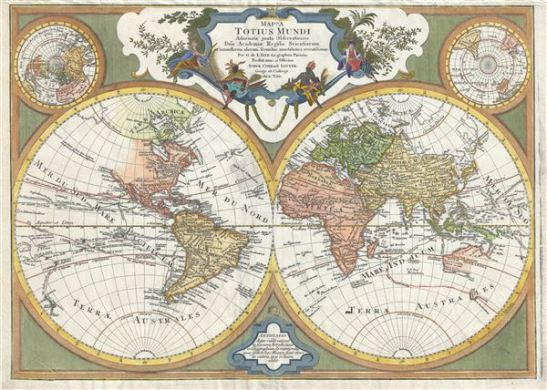 Mappa totius mundi   adornata juxta observationes dnn  academiae     1775 Lotter Map of the World in Hemispheres