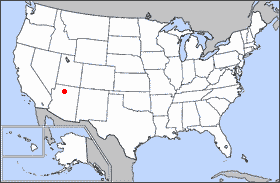 Map showing the location of the Grand Canyon.