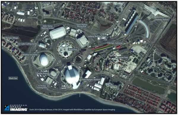 Satellite view of the Sochi Stadiums.  Source: European Space Imaging.