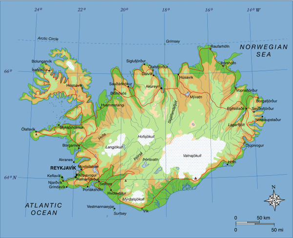 Map of Iceland showing major towns, rivers, lakes and glaciers.  Source: Max Naylor.