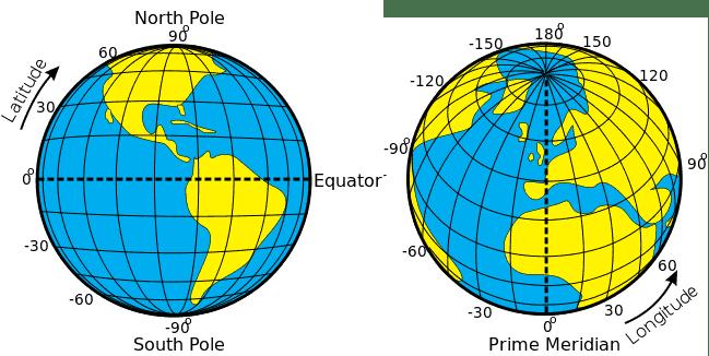Latitude and Longitude. Image: Djexplo, WikiMedia Commons, public domain