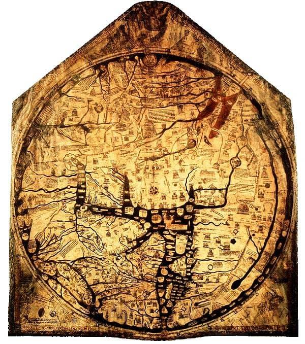 The Hereford Mappa Mundi, circa 1300, England.