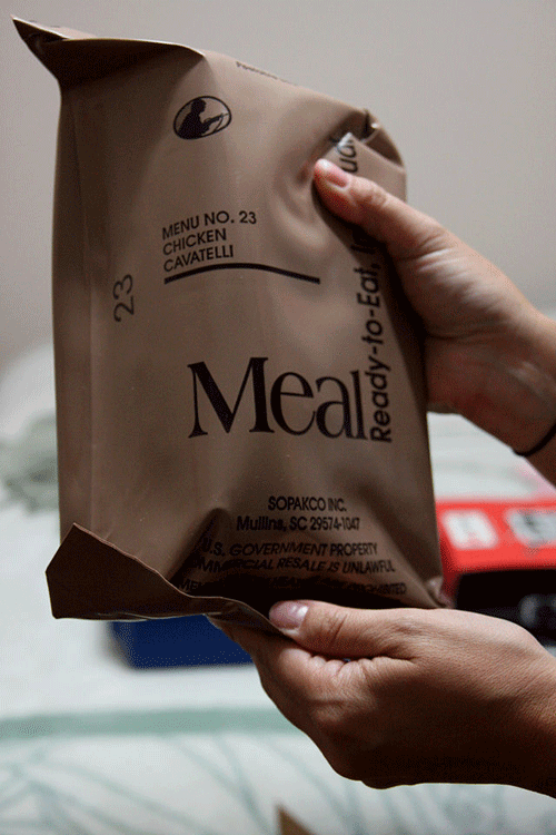 MRE (Meals Ready to Eat) package held by a resident in Louisiana.  Source: FEMA.
