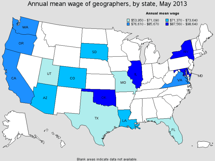 Mean salaries for geographers by state, May 2013.  Source: BLS.