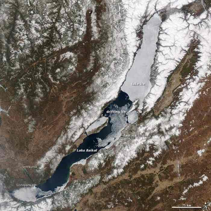 This satellite image of Lake Baikal, captured on May 4, 2012, by the Moderate Resolution Imaging Spectroradiometer (MODIS) instrument on NASA's Aqua satellite, shows ice breaking up in the central part of the lake.