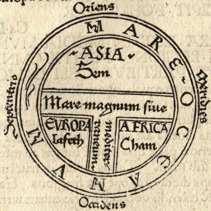 Earliest printed example of a classical T and O map (by Günther Zainer, Augsburg, 1472), illustrating the first page of chapter XIV of the Etymologiae of Isidore of Seville. It shows the continents as domains of the sons of Noah: Sem (Shem), Iafeth (Japheth) and Cham (Ham).