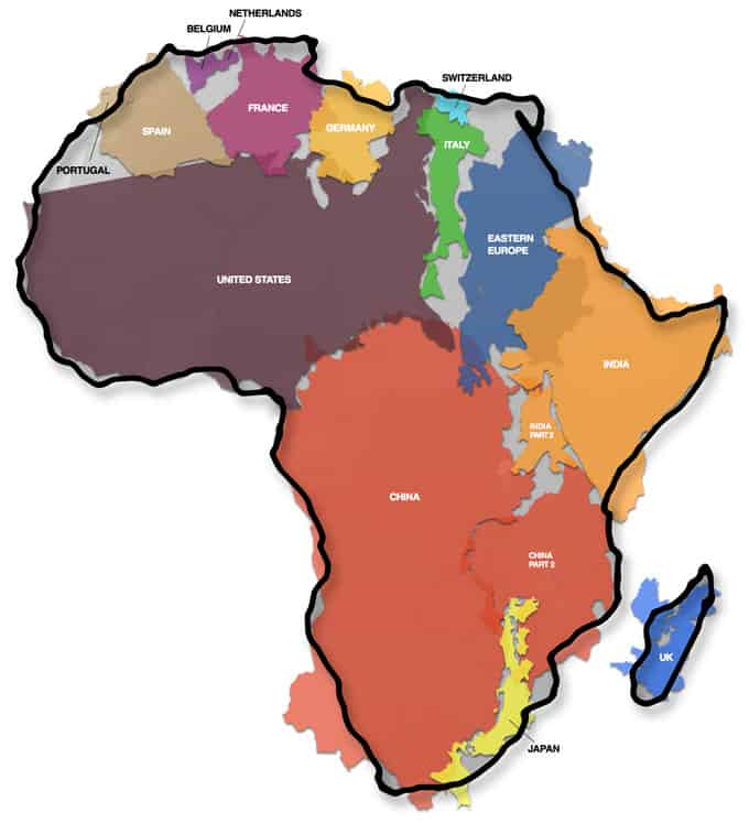The True Size of Africa.  Source: Kai Krause.