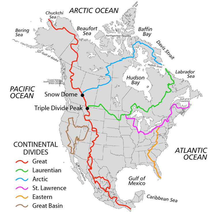 Continental Divides in North America.