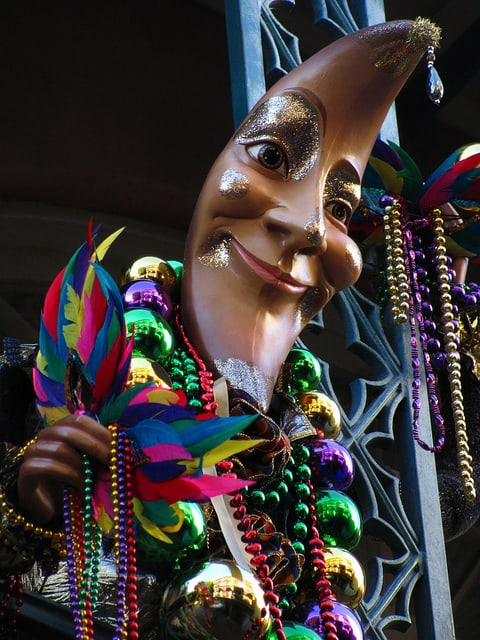 Colored beads and masks are a ubiquitous presence during Mardi Gras celebrations in New Orleans. Photo: Loren Javier