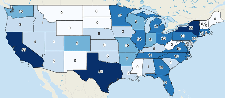 Map showing the number of Fortune 500 company headquarters per state with counts as labels. Map created in QGIS. Data from Fortune, 2015.