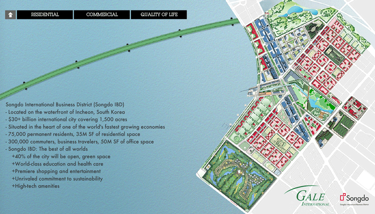 "Songdo is a new South Korean ""smart city"" build from scratch on 1,500 acres of reclaimed land. Map from Songdo IBD."