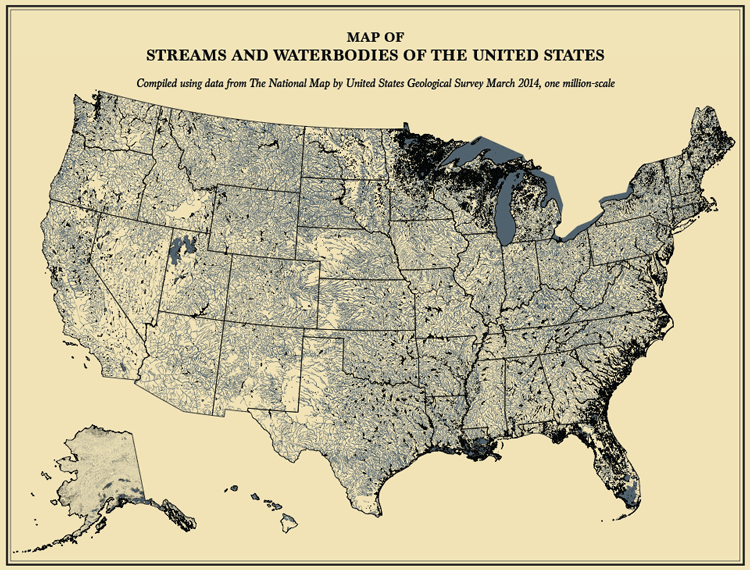 Map showing the streams and waterbodies of the US with data from the USGS, 2014. Map: Yau, FlowingData.