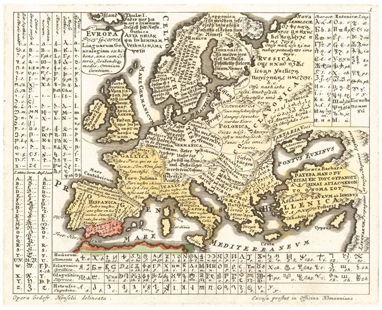 Europa Polyglotta (1741) by Gottfried Hensel. Source: Wikimedia Commons.