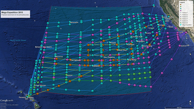 Map showing the 50 transects the Mega Expedition will perform based on routing information provided by the skippers before they left port. Map: Lys-Anne Sirks / The Ocean Cleanup