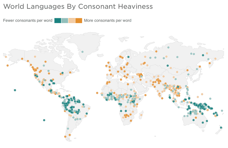 Map from Alyson Hurt/NPR and  Analysis by Ian Maddieson (Department of Linguistics, University of New Mexico) and Christophe Coupé (Laboratoire Dynamique de Langage, CNRS-Université Lyon-2)