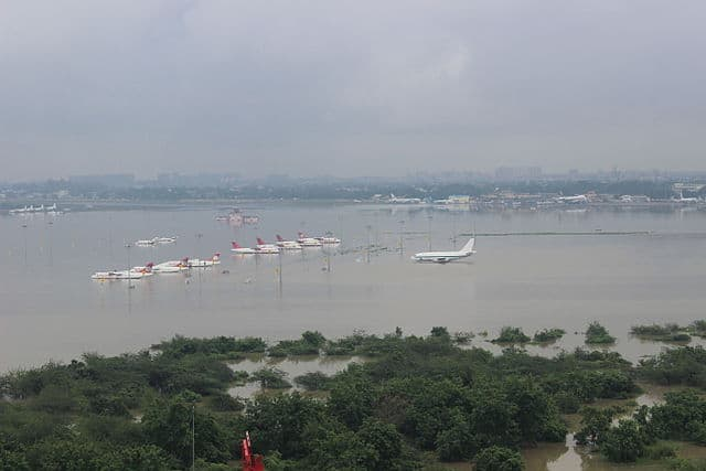 Aerial view of submerged Chennai airport taken by Indian Air Force helicopters following heavy rains in Tamil Nadu, December 2015 Photo: Indian Air Force, 2015.