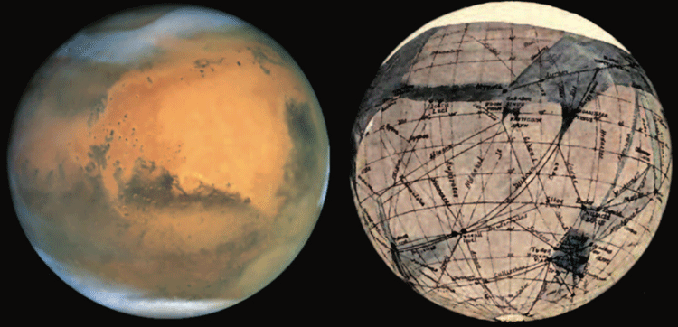 The surface of Mars: (left) as seen through the Hubble Space Telescope, and (right) as mapped by Percival Lowell in 1905 and showing the locations of 'canals'. Images: NASA Photojournal image PIA03154 © NASA/Hubble Heritage Team and Lowell, 1908.