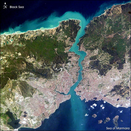 Istanbul straddles both sides of the 20-mile long Bosporus Strait connecting the Mediterranean and Sea of Marmara (south) to the Black Sea (north). Source: NASA