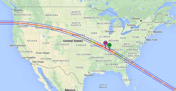 Screenshot from NASA's Interactive map of the path of the Total Solar Eclipse of 2017 Aug 21.  The northern and southern path limits are blue and the central line is red.  The green marker labeled GE is the point of Greatest Eclipse. The magenta marker labeled GD is the point of Greatest Duration.
