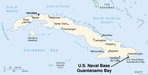Map showing the location of Guantanamo Bay. Source: MediaWiki Commons