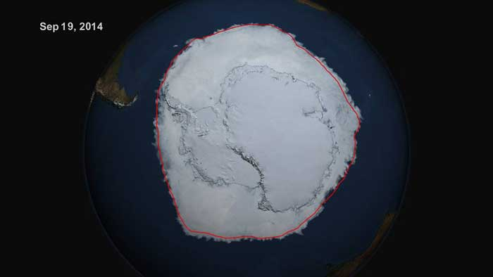 On Sept. 19, 2014, the five-day average of Antarctic sea ice extent exceeded 20 million square kilometers for the first time since 1979, according to the National Snow and Ice Data Center. The red line shows the average maximum extent from 1979-2014. Credits: NASA's Scientific Visualization Studio/Cindy Starr