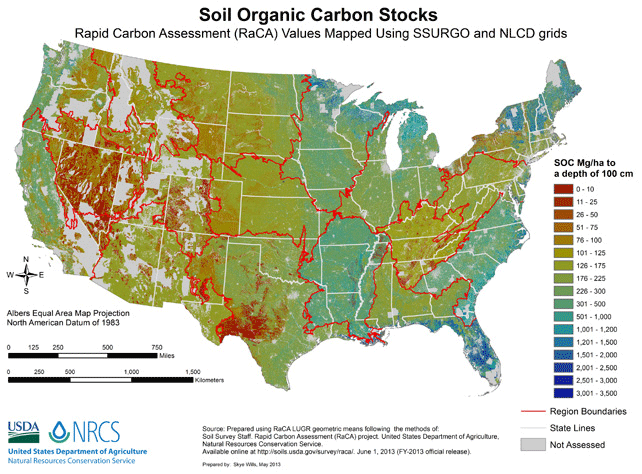 Map of Soil Organic Carbon Stock of the United States.  Source: USDA, NRCS
